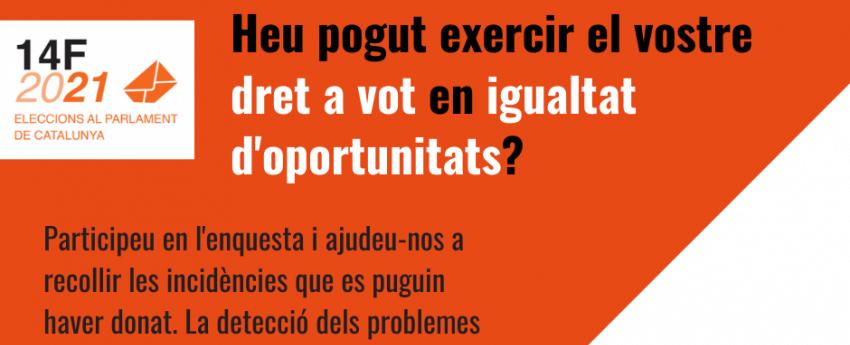 Cartel informativo de la encuesta donde se formula la pregunta ¿Habéis podido ejercer vuestro derecho a vot en igualdad de oportunidades?