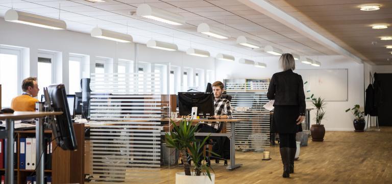 Imagen de un despacho de una empresa con varias personas trabajando con un ordenador