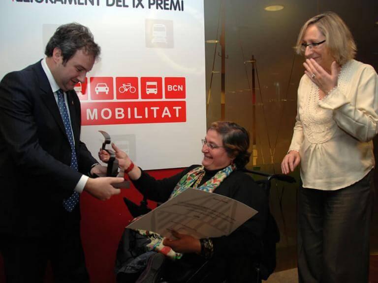 Entrega del premi Pacte per la Mobilitat per part de l'alcalde de Barcelona Jordi Hereu