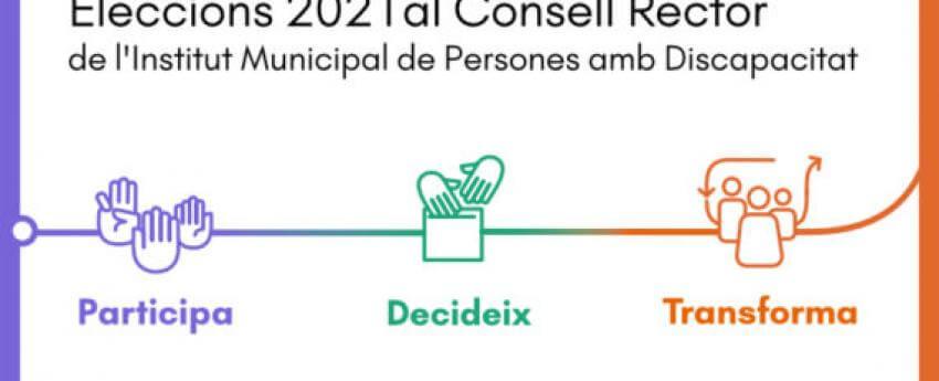 imatge promocional de les eleccions al Consell Rector, amb un lema que diu Participa, Decideix i Transforma