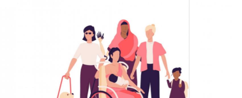 Portada de la guía donde sale el título, un dibujo de mujeres diversas y los logotipos de Cermi Mujeres y el Ministerios de Derechos sociales